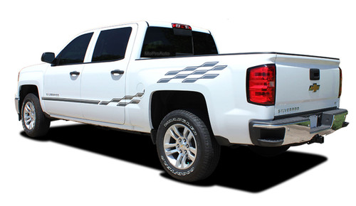 CHAMP : 2014 2015 2016 2017 2018 2019 2020 2021 Chevy Silverado or GMC Sierra Checkered Flag Bed Side Vinyl Graphic Decal Stripe Kit (M-PDS-2363)