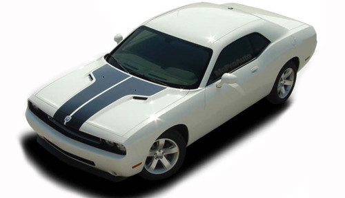 """Challenger HOOD : Factory OEM Style Vinyl Racing Stripes for 2008 2009 2010 2011 2012 2013 2014 Dodge Challenger  Factory """"OEM Style"""" Split Racing Hood Stripes, Graphics, and Decal Set for the New 2008-2014 Dodge Challenger! Pre-cut pieces ready to install . . . A fantastic addition, using only Premium Cast 3M, Avery, or Ritrama Vinyl!"""