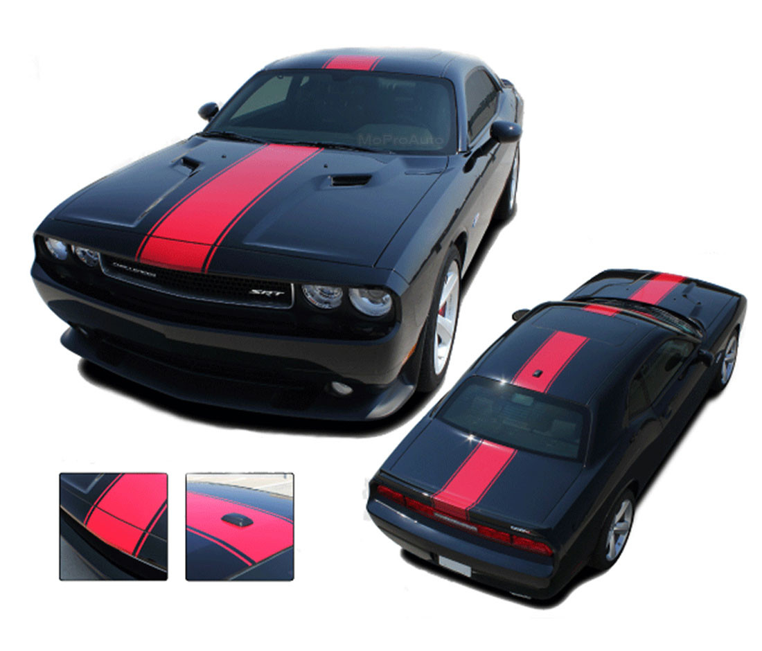 Dodge Challenger Hood Stripe Finish Line Wide Center Rallye Redline Vinyl Racing Stripes Graphic Kit Fits 2011 2014 Moproauto Professional Vinyl Graphics And Striping