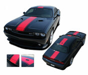 Challenger FINISH LINE : Wide Center Vinyl Racing Stripes Graphics Kit fits 2011 2012 2013 2014 Dodge Challenger - FINISH LINE Center Wide Racing Stripes, Vinyl Graphic and Decal Kit for the 2011 - 2014 Dodge Challenger! Pre-cut and tapered pieces ready to install . . . An amazing look at a fantastic price, using only Premium 3M, Avery, or Ritrama Vinyl!