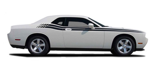 Challenger DUAL : Vinyl Graphics and Stripe Kit 2008, 2009, 2010, 2011, 2012, 2013, 2014, 2015, 2016, 2017, 2018, 2019, 2020, 2021 Dodge Challenger DUAL Style Graphic, Decal and Stripe Package for Dodge Challenger! RT Decals Optional! Pre-cut pieces ready to install . . . A fantastic addition, using only Premium Cast 3M, Avery, or Ritrama Vinyl!