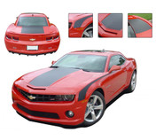 "Camaro SINGLE STRIPE : 2010 2011 2012 2013 Chevy Camaro Factory OEM Style WIDE SINGLE STRIPE Rally Stripes Kit - 2010-2013 Chevy Camaro SINGLE STRIPE - Wide Racing Rally Stripe Graphics Kit! Engineered specifically for the new Camaro, this kit will give you a factory OEM upgrade look at a discount price! Wide Hood, Trunk and and FREE Side ""Throwback"" Stripes included! Pre-Cut pieces ready to install!"