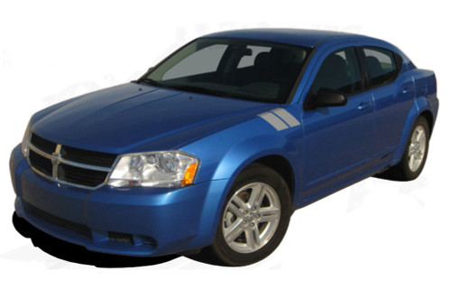AVENGED DOUBLE BAR : Hash Style Vinyl Graphics Kit for 2008 2009 2010 2011 2012 2013 2014 Dodge Avenger  Factory OEM Hash Style Dodge Avenger 2008-2014 Vinyl Graphics! Hood/Fender Decals . . . Pre-cut and ready to install!