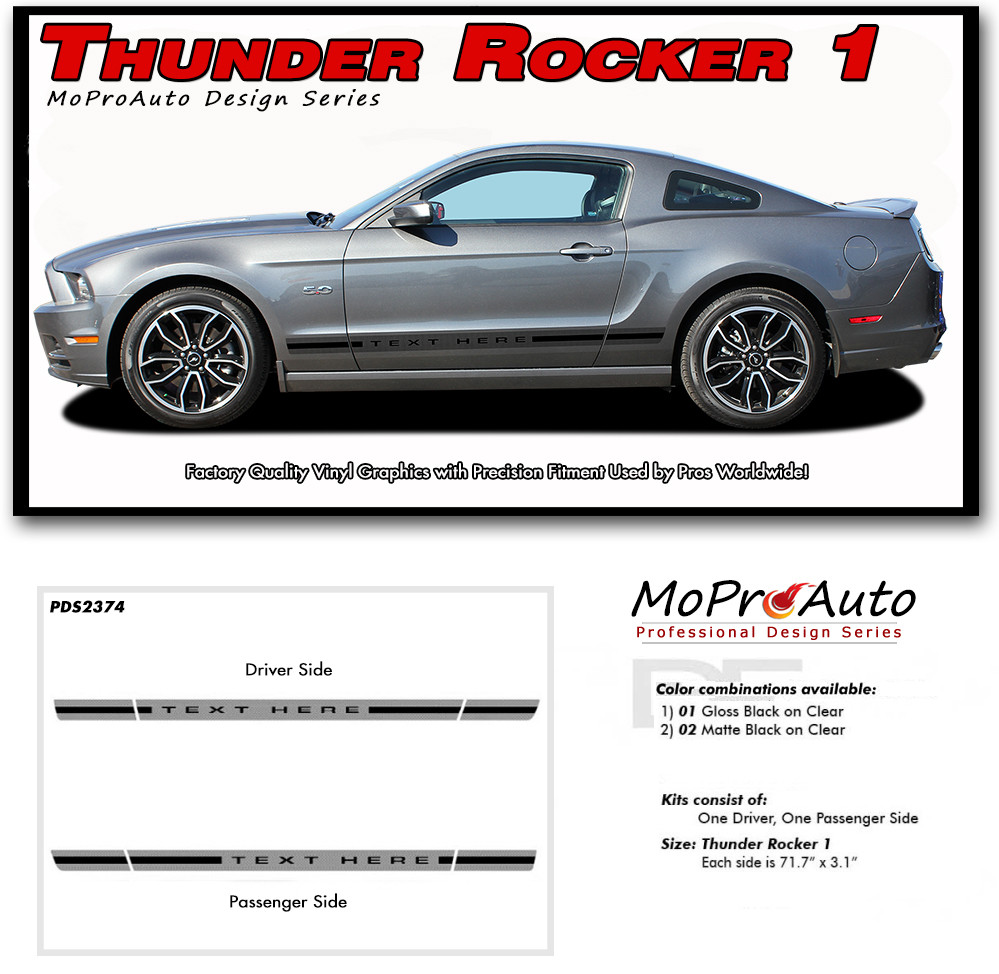 Thunder rocker 1 ford mustang rocker panel stripes vinyl graphic decals details