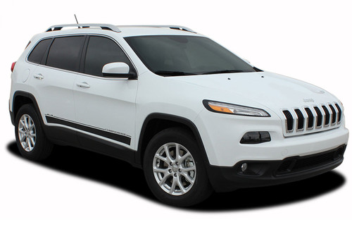 2013, 2014, 2015, 2016, 2017, 2018, 2019, 2020 Jeep Cherokee Lower Rocker Vinyl Graphics Decal Stripe BRAVE Vinyl Graphics Kit! Engineered specifically for the new Jeep Cherokee, this kit will give you a factory OEM upgrade look at a discount price! Pre-trimmed sections ready to install! Fits Jeep Cherokee Lower Side Rocker Panels . . .