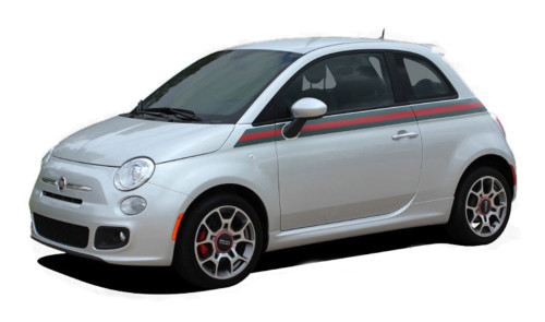 """SE 5 ITALIAN GUCCI STRIPE : """"Gucci Style"""" Fiat 500 Abarth Vinyl Graphics Kit Fiat 500 Vinyl Graphics, Stripes and Decal Kit! Gucci Italian Style! Pre-cut pieces ready to install, using only Premium Cast 3M, Avery, or Ritrama Vinyl!"""