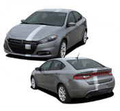 DART E-RALLY : Bumper to Bumper Euro Rally Racing Stripes for 2013 2014 2015 2016 Dodge Dart  - Euro Rally Style Dodge Dart Racing Stripes Kit! Pre-trimmed sections ready to install, using only Premium Cast 3M, Avery, or Ritrama Vinyl!