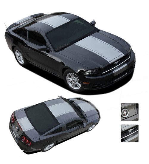 VENOM : Super Snake Style Ford Mustang Racing and Rally Stripes Vinyl Graphics Kit  - * NEW Super Snake Style Vinyl Graphics Kit for the Ford Mustang! Factory Style Wide Center Racing Stripes and Rally Kit, featuring Premium Grade Vinyl. Test sized and fitted for a professional install every time!