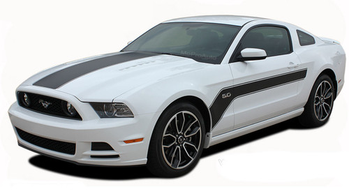 FLIGHT : Ford Mustang Hockey Stick Style Hood and Side Vinyl Graphics Stripe Decal Kit  * NEW Hockey Stick Style Vinyl Graphics Kit for the Ford Mustang! Factory Style without the factory cost! Gives a retro muscle car look that will set your Mustang apart!