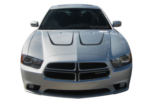 SCALLOP HOOD : Vinyl Graphics Kit for Dodge Charger - Factory OEM Style Dodge Charger 2011-2014 Vinyl Graphics, Stripes and Decal Kit! Hood Decals Included. Pre-cut pieces ready to install, using only Premium Cast 3M, Avery, or Ritrama Vinyl!