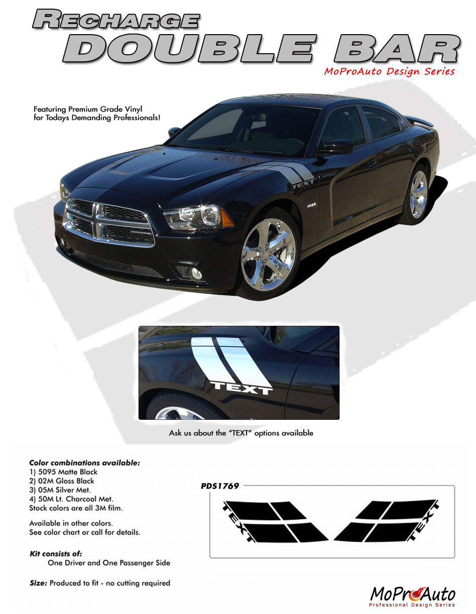 RECHARGE DOUBLE BAR : Dodge Charger Hash Mark Hood to Fender Decals Stripes  fits 2011-2014