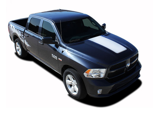 """RAM HOOD : 2009 2010 2011 2012 2013 2014 2015 2016 2017 2018 Dodge Ram Vinyl Graphics Kit! Dodge Ram Hood Vinyl Graphic Kit! Engineered specifically for the new Dodge Ram body styles, this kit will give you a factory """"MoPar OEM Style"""" upgrade look at a discount price! Ready to install!"""