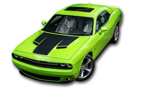 """Challenger HOOD : Factory OEM """"R/T Modern"""" Style Vinyl Racing Stripes for 2015, 2016, 2017, 2018, 2019, 2020, 2021 Dodge Challenger! Factory """"OEM Style"""" Solid Racing Hood Stripes, Graphics, and Decal Set for the Dodge Challenger! Ready to install . . . A fantastic customization with graphics that fit, using only Premium Cast 3M, Avery, or Ritrama Vinyl!"""