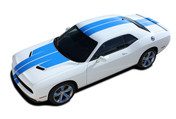 "Challenger RALLY PLUS : Factory OEM Style Vinyl Graphic Racing Stripes for 2015, 2016, 2017, 2018, 2019, 2020 Dodge Challenger! Complete Factory ""OEM Style"" 10"" Wide Solid Racing Stripes with ""WINGED"" Hood -  Graphics, and Decal Set for the Dodge Challenger! Ready to install . . . A fantastic customization with graphics that fit, using only Premium Cast 3M, Avery, or Ritrama Vinyl! - Details"