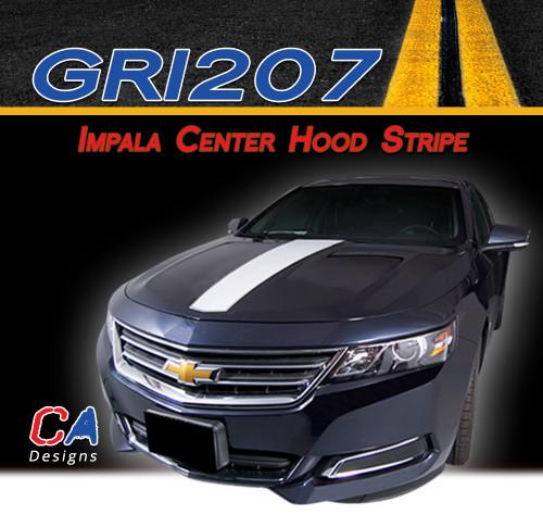 2014-2015 Chevy Impala Center Hood Vinyl Graphic Decal Stripe Kit (M-GRI207)