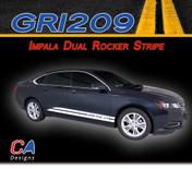 2014-2015 Chevy Impala Dual Rocker Vinyl Graphic Decal Stripe Kit (M-GRI209)