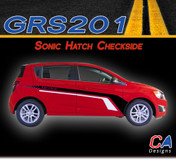 2012-2015 Chevy Sonic Hatch Checkside Dual Color Vinyl Stripe Kit (GRS201)