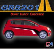 2012-2015 Chevy Sonic Hatch Checkside Dual Color Vinyl Stripe Kit (GRS201)