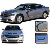 """2015, 2016, 2017, 2018, 2019, 2020 C-SCALLOP COMBO : """"C"""" Style Hood and Side Vinyl Graphic, Decals, and Stripe Kit for Dodge Charger"""