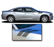 2015, 2016, 2017, 2018, 2019, 2020, 2021 RECHARGE DOUBLE BAR 2 : Hood to Fender Hash Marks Vinyl Graphic, Decals, and Stripe Kit for Dodge Charger (PDS3317)