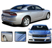2015, 2016, 2017, 2018, 2019, 2020, 2021 RIVE : Hood Spikes and Rear Quarter Panel Sides Vinyl Graphic, Decals, and Stripe Kit for Dodge Charger (PDS3315)