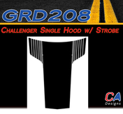 2011-2014 Dodge Challenger Single Hood w/ Strobe Vinyl Stripe Kit (M-GRD208)