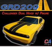 2011-2014 Dodge Challenger Dual Hood w/ Pin Outline Vinyl Stripe Kit (M-GRD209)