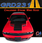 2015-2018 Dodge Challenger Strobe Wing Center Hood Vinyl Stripe Kit (M-GRD231)