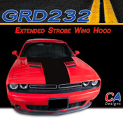 2015-2018 Dodge Challenger Extended Strobe Wing Center Hood Vinyl Stripe Kit (M-GRD232)
