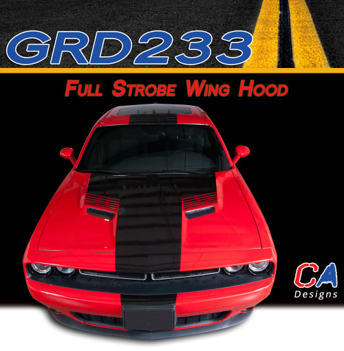 2015-2018 Dodge Challenger Full Strobe Wing Center Hood Vinyl Stripe Kit (M-GRD233)