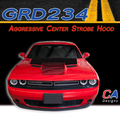 2015-2018 Dodge Challenger Aggressive Center Strobe Hood Vinyl Stripe Kit (M-GRD234)