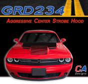 2015-2018 Dodge Challenger Aggressive Center Strobe Hood Vinyl Stripe Kit (M-GRD234)