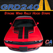 2015-2018 Dodge Challenger Strobe Wing Rally Hood Vinyl Stripe Kit (M-GRD240)