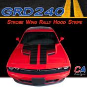 2015-2018 Dodge Challenger Strobe Wing Rally Hood Vinyl Stripe Kit (M-GRD240)