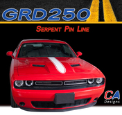 2015-2018 Dodge Challenger Serpent Pin Line Center Hood Vinyl Stripe Kit (M-GRD250)