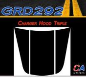 2006-2010 Dodge Charger Triple Hood Vinyl Stripe Kit (M-GRD292)