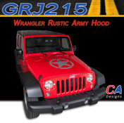 2007-2017 Jeep Wrangler Rustic Army Hood Vinyl Graphic Stripe Package (M-GRJ215)