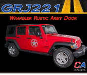 2007-2018 Jeep Wrangler Rustic Army Door Vinyl Graphic Stripe Package (M-GRJ221)
