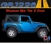 2007-2018 Jeep Wrangler Mud Tire Two Door Vinyl Graphic Stripe Package (M-GRJ226)