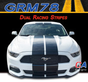 2015-2016 Ford Mustang Dual Racing Vinyl Graphic Stripe Package Kit (M-GRM78)