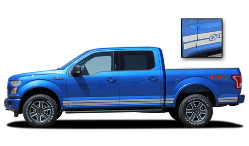 F-150 ROCKER ONE : Ford F-150 Lower Rocker Panel Stripes Vinyl Graphics and Decals Kit for 2015, 2016, 2017, 2018, 2019, 2020 F-Series Models (M-PDS3524)