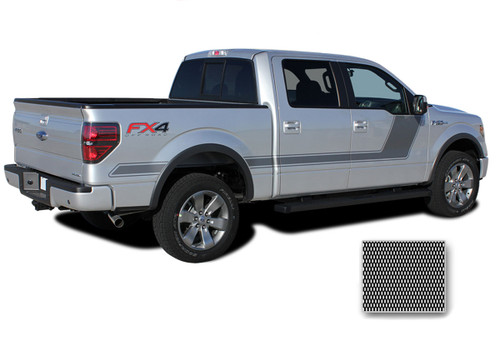 "FORCE TWO Screen Print : Ford F-150 ""Appearance Package Style"" Hockey Stripe Vinyl Graphics Decals Kit 2009-2014 and 2015 2016 2017 2018 2019 Models (M-PDS3518)"