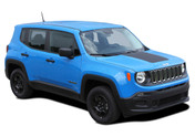 2014, 2015, 2016, 2017, 2018, 2019, 2020, 2021 RENEGADE HOOD : Jeep Renegade Hood Decal Trailhawk Style Vinyl Graphics Decal Stripe Kit (M-PDS3671)