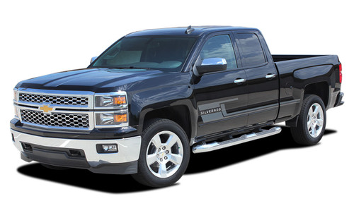 SHADOW : 2014 2015 2016 2017 2018 Chevy Silverado Vinyl Graphic Decal Lower Body Accent Stripe Kit (M-PDS3688)