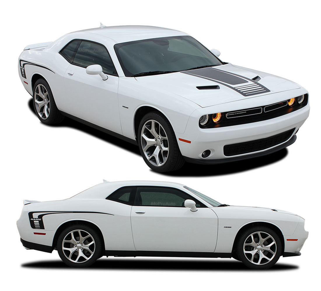 2008-2016 2017 Dodge Challenger Fender to Side Full Racing Dual Stripes Decals