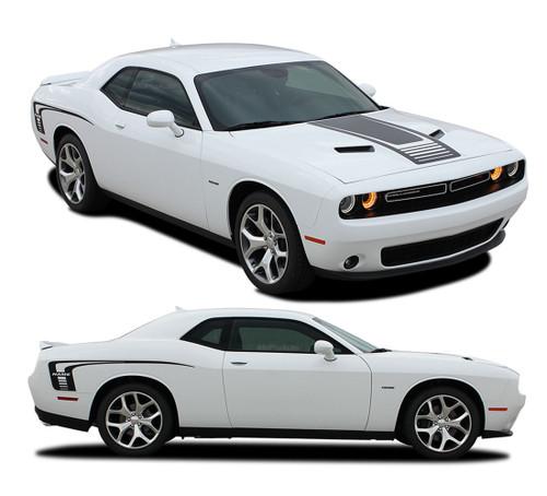 "Challenger CUDA STROBE : Factory OEM ""Cuda Style"" Hood and Side Vinyl Stripes for 2008-2010 2011 2012 2013 2014 2015 2016 2017 2018 2019 Dodge Challenger (M-PDS3740.44)"