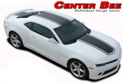 Chevy Camaro CENTER BEE Racing Stripes Vinyl Graphics Kit! Engineered specifically for the new Camaro, this kit will give you an OEM look without the factory price! Hood, Roof, Deck Lid Sections Included! This is a professionally designed kit, with pre-trimmed pieces ready to install!