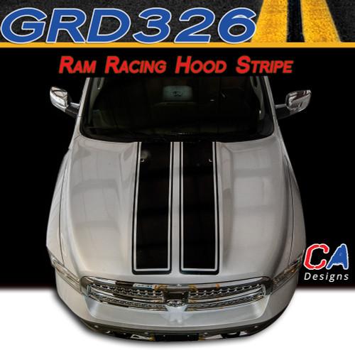 2009-2015 Dodge Ram Racing Hood Stripe Vinyl Striping Graphic Kit (M-GRD326)