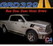 2009-2015 Dodge Ram Dual Dash Hood Stripe Vinyl Striping Graphic Kit (M-GRD329)