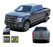 F-150 BORDERLINE : Ford F-150 Center Racing Stripes Vinyl Graphics and Decals Kit for 2015 2016 2017 2018 2019 Models (M-PDS3820)